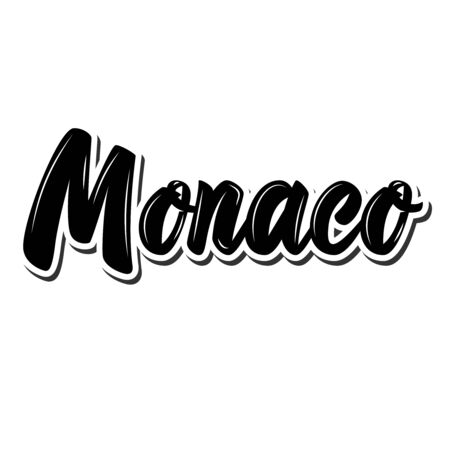 Monako.  Lettering phrase on white background. Design element for poster, banner, t shirt, emblem. Vector illustration