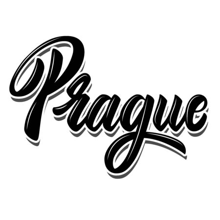 Prague (capital of Czech ).  Lettering phrase on white background. Design element for poster, banner, t shirt, emblem. Vector illustration