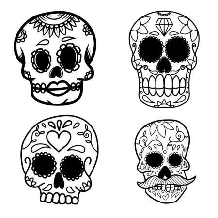 Set of hand drawn mexican sugar skull isolated on white background. Design element for poster, card, banner, t shirt, emblem, sign. Vector illustration