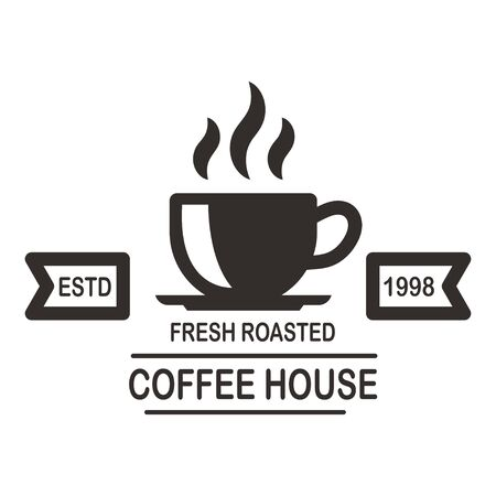 Coffee house emblem template. Design element for logo, label, sign, poster, flyer. Vector illustration