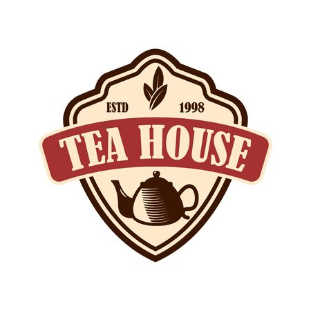 Tea shop emblem template. Design element for logo, label, sign, poster, flyer. Vector illustration