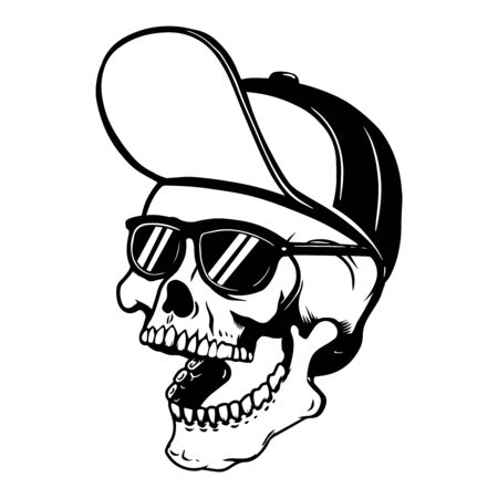 Skull in baseball cap and sun glasses. Design element for poster, t shirt, card, banner, emblem, sign. Vector illustration