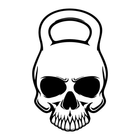 Skull in the form of a kettlebell. Design element for poster, t shirt, card, banner. Vector illustration