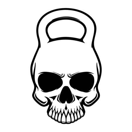 Teschio a forma di kettlebell. Elemento di design per poster, t-shirt, biglietti, banner. Illustrazione vettoriale
