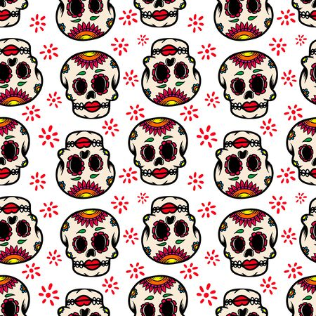 Seamless pattern with mexican sugar skulls. Design element for poster, card, flyer, banner. Vector illustration Archivio Fotografico - 129261226