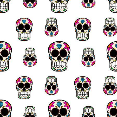 Seamless pattern with mexican sugar skulls. Design element for poster, card, flyer, banner. Vector illustration Illustration
