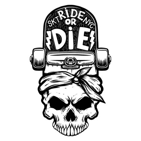Ride or die. Skull with skateboard. Иллюстрация