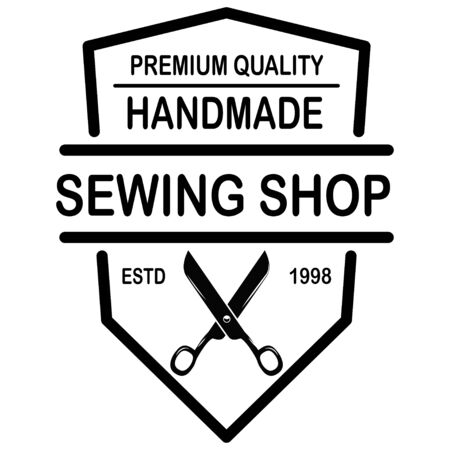 Tailor shop emblem template. Design element for logo, label, sign, poster. Vector illustration Illustration