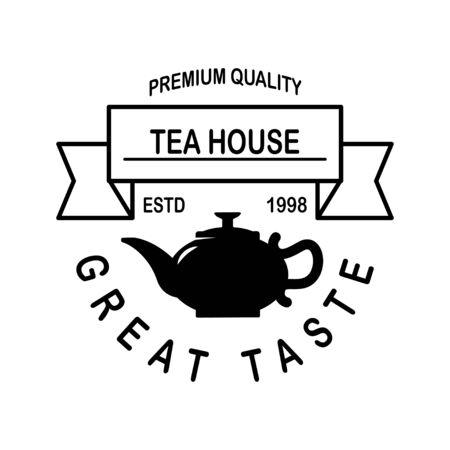 Tea shop emblem template. Design element for logo, label, sign, poster, flyer. Vector illustration