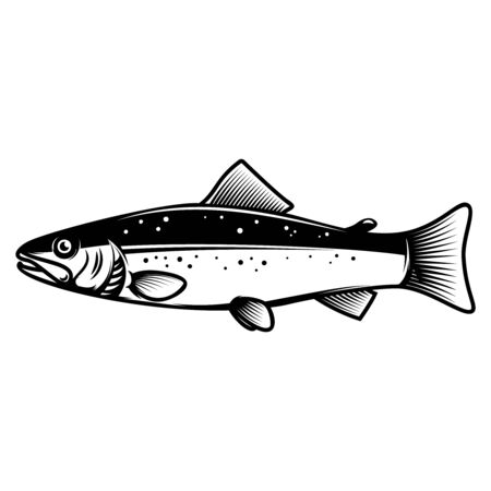 Trout icon on light background. Design element for logo, label, sign, badge. Vector illustration Ilustracja