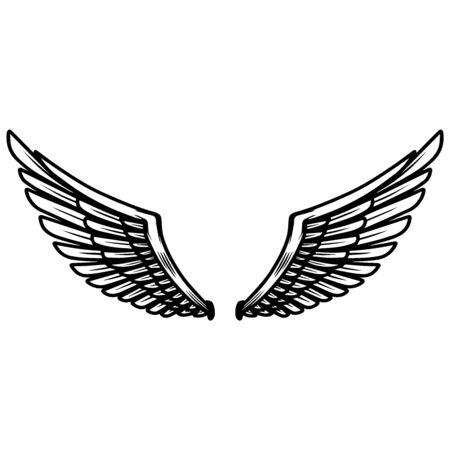 Eagle wings on light background. Design element for poster, t shirt, card, banner. Vector illustration