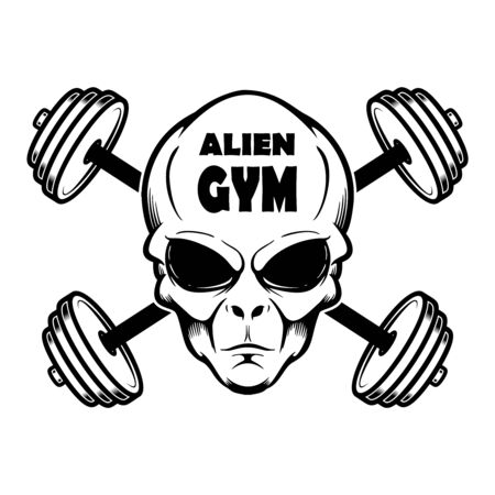 Alien gym. Alien head with crossed barbells. Design element for poster, banner, t shirt, emblem. Vector illustration  イラスト・ベクター素材