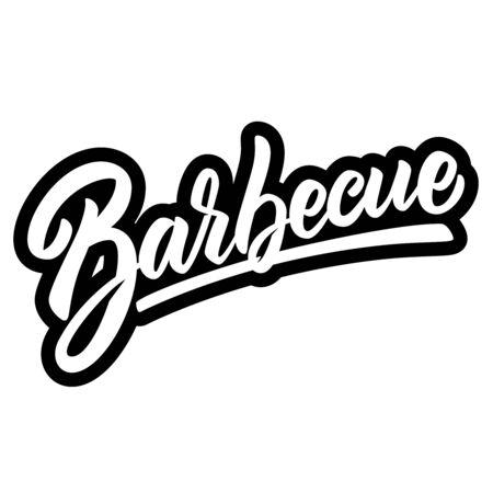 Barbecue. Lettering phrase on light  background. Design element for poster, banner, t shirt, emblem. Vector illustration