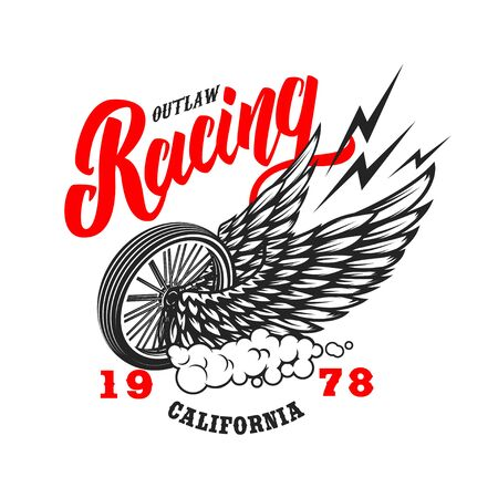 Outlaw racing. Emblem template with winged wheel. Design element for poster, logo, label, sign, badge. Vector illustration