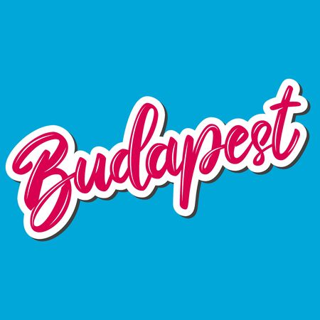 Budapest (capital of Hungary).  Lettering phrase on white background. Design element for poster, banner, t shirt, emblem. Vector illustration Illusztráció