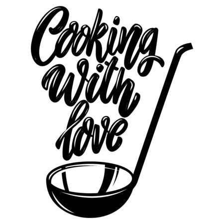 Cooking with love. Lettering phrase on white background. Design element for poster, banner, t shirt, card. Vector illustration