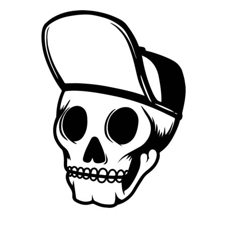 Illustration of human skull in baseball cap. Design element for poster, card, flyer, emblem, sign. Vector illustration