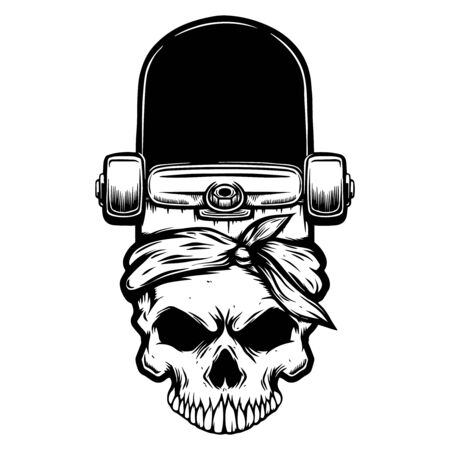 Skateboard with human skull. Design element for poster, card, flyer, emblem, sign. Vector illustration