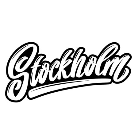 Stockholm (capital of Sweden).  Lettering phrase on white background. Design element for poster, banner, t shirt, emblem. Vector illustration