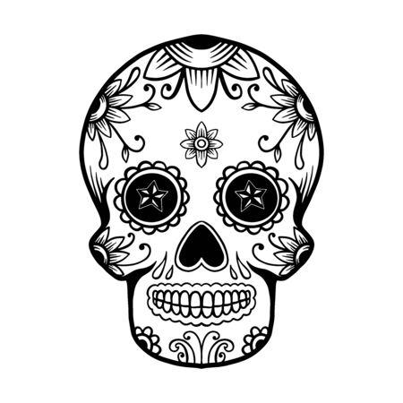 Calavera de azúcar mexicana dibujada a mano aislada sobre fondo blanco. Elemento de diseño de carteles, tarjetas, pancartas, camisetas, emblemas, letreros. Ilustración vectorial