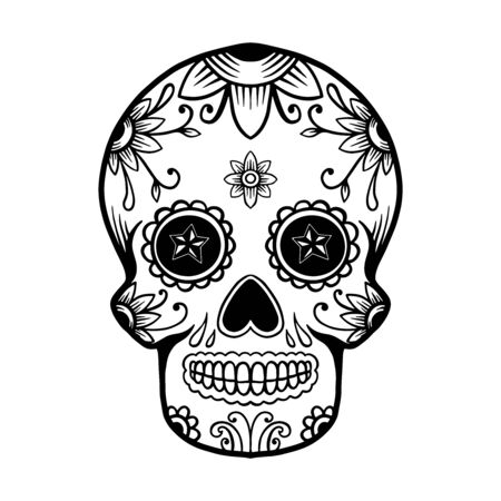 hand drawn mexican sugar skull isolated on white background. Design element for poster, card, banner, t shirt, emblem, sign. Vector illustration