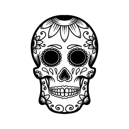 hand drawn mexican sugar skull isolated on white background. Design element for poster, card, banner, t shirt, emblem, sign. Vector illustration Иллюстрация
