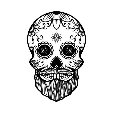 Dibujado a mano cráneo de azúcar barbudo mexicano aislado sobre fondo blanco. Elemento de diseño de carteles, tarjetas, pancartas, camisetas, emblemas, letreros. Ilustración vectorial