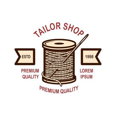 Tailor shop emblem template. Design element for  label, sign, poster. Vector illustration