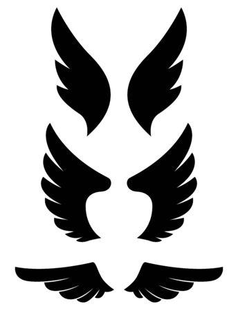 Set of eagle wing icons. Design elements for label, sign, badge. Vector illustration Banque d'images - 129260763