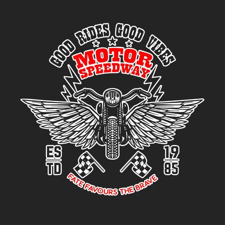 Motor speedway. Poster template with winged motorcycle. Design element for poster, flyer, card, banner. Vector illustration