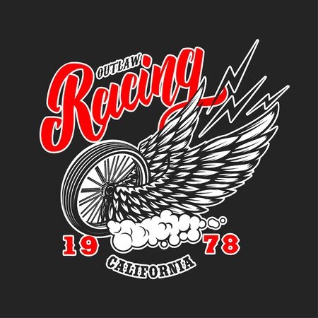Custom motorcycles. Poster template with winged wheel. Design element for poster, label, sign, badge. Vector illustration