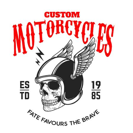 Custom motorcycles. Poster template with skull in winged racer helmet. Design element for poster, label, sign, badge. Vector illustration