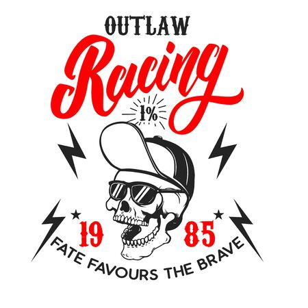 Outlaw racing .Poster template with skull. Design element for poster, flyer, card, banner. Vector illustration