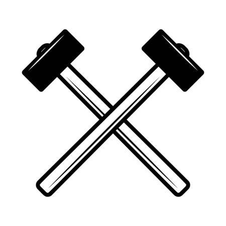 Crossed hammers. Design element for poster, emblem, sign, label. Vector illustration