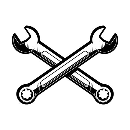 Crossed wrenches. Design element for poster, emblem, sign,  label. Vector illustration  イラスト・ベクター素材