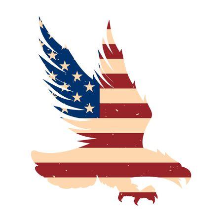 Sagoma di aquila con sfondo bandiera usa. Elemento di design per poster, emblema, segno, etichetta. Illustrazione vettoriale