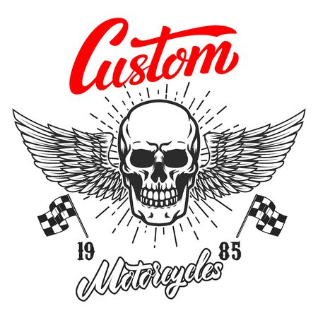 Custom motorcycles .Poster template with winged skull. Design element for poster, flyer, card, banner. Vector illustration