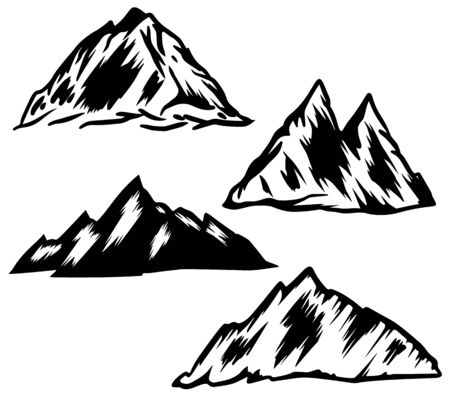 Set of hand drawn mountain illustrations. Design element for poster, emblem, sign, label. Vector illustration
