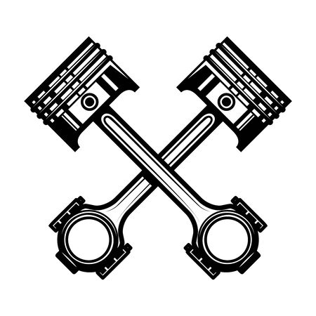 Crossed motorcycle pistons. Design element for poster, flyer, card, banner. Vector illustration Ilustracja