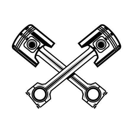 Crossed motorcycle pistons. Design element for poster, flyer, card, banner. Vector illustration Illustration