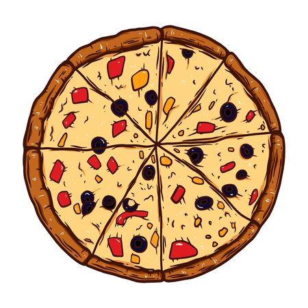 Hand drawn pizza illustration. Design element for poster, emblem, sign, label. Vector illustration