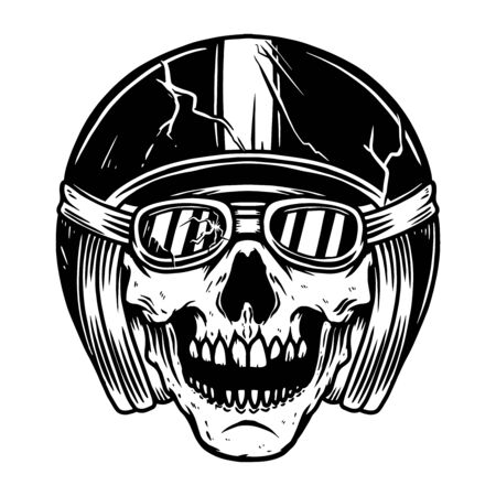 Illustration of racer skull in motorcycle helmet. Design element for poster, flyer, card, banner. Vector illustration