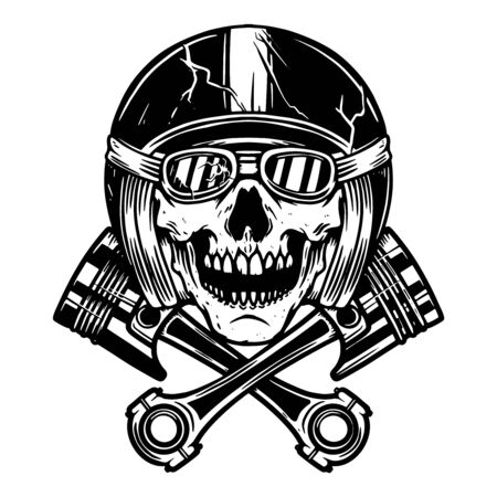 Skull in racer helmet and crossed pistons. Design element for poster, flyer, card, banner. Vector illustration 向量圖像