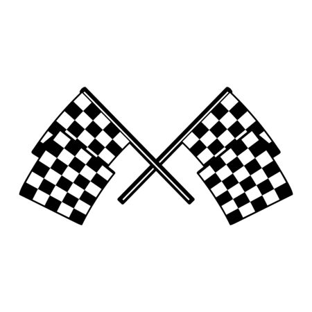 Racing flags with chess pattern. Design element for poster, emblem, sign, label. Vector illustration Ilustracja