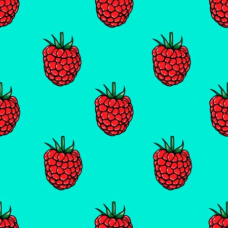 Seamless pattern with raspberries. Design element for poster, flyer, card, banner. Vector illustration