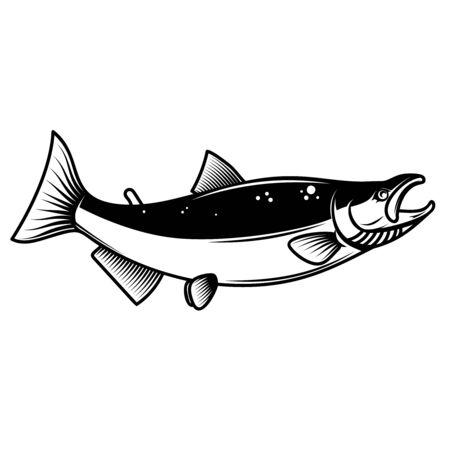 Salmon fish illustration. Design element for poster, emblem, sign, label. Vector illustration