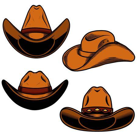 Set of  illustration of cowboy hat isolated on white background. Design element for poster, card, banner, sign, emblem, label. Vector illustration
