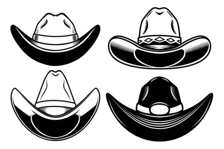 Set of  illustration of cowboy hat isolated on white background. Design element for poster, card, banner, sign, emblem, label. Vector illustration