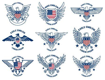 Set of emblems with eagles and usa flags. Design element for poster, emblem, sign, label. Vector illustration Stock Illustratie