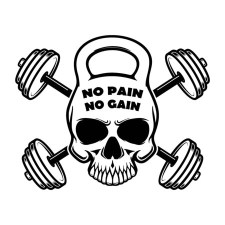 no pain no gain. Skull in kettlebell form and crossed barbells. Design element for  label, sign, poster. Vector illustration